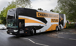 © Licensed to London News Pictures. 01/05/2017. London, UK. The Liberal Democrat campaign bus is seen for the first time in Kingston-Upon-Thames. The general election is on June 8th 2017. Photo credit: Peter Macdiarmid/LNP