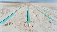 Aerial view of people at Salinas Grande, touristic attraction, Argentina.