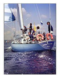 The Clyde Cruising Club's 1977 Tomatin Trophy the first Scottish Series held at Tarbert Loch Fyne.  An overnight race from Gourock to Campbeltown then on to Olympic Triangles in Loch Fyne. ..A long running Irish entry,  686  Hysperia of Down owned by BW Buchan.