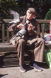 Elderly man sitting on park bench feeding pigeons,