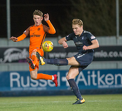 Dundee United's Logan Chalmers and Falkirk's Peter Grant. Falkirk 6 v 1 Dundee United, Scottish Championship game played 6/1/2018 played at The Falkirk Stadium.