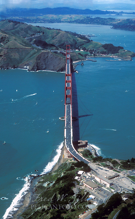 The Golden Gate Bridge from an altitude of 2000ft