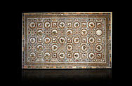 Picture of a Roman mosaics design depicting shells and birds, from the ancient Roman city of Thysdrus. 3rd century AD, House of Selinus. El Djem Archaeological Museum, El Djem, Tunisia. Against a balck background .<br /> <br /> If you prefer to buy from our ALAMY PHOTO LIBRARY Collection visit : https://www.alamy.com/portfolio/paul-williams-funkystock/roman-mosaic.html . Type - El Djem - into the LOWER SEARCH WITHIN GALLERY box. Refine search by adding background colour, place, museum etc<br /> <br /> Visit our ROMAN MOSAIC PHOTO COLLECTIONS for more photos to download as wall art prints https://funkystock.photoshelter.com/gallery-collection/Roman-Mosaics-Art-Pictures-Images/C0000LcfNel7FpLI