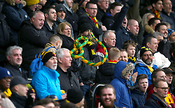 Fans hold an inflatable snake in the stands