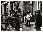 Aswad photosession on the All Saints Road, West London 1981