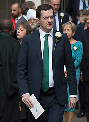 © Licensed to London News Pictures. 20/06/2016. London, UK. Chancellor George Osborne leaves St Margaret's Church, Westminster Abbey after attending a Service of Prayer and Remembrance to commemorate Jo Cox MP, who was killed in her constituency on June 16, 2016. Photo credit: Peter Macdiarmid/LNP