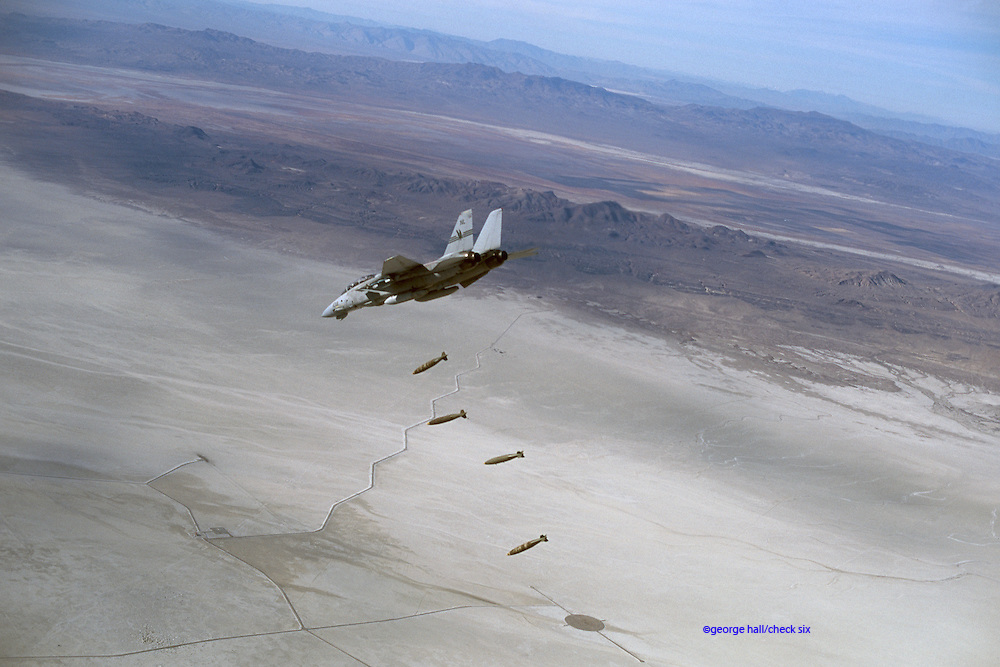 F-14D Bombcat dropping 2000-lb Mk 84s