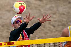 Robert Meeuwsen in action. The DELA NK Beach volleyball for men and women will be played in The Hague Beach Stadium on the beach of Scheveningen on 22 July 2020 in Zaandam.