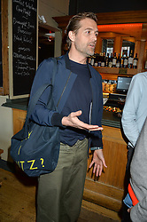 PATRICK GRANT at a quiz night hosted by Zoe Jordan to celebrate the launch of her men's ZJKNITLAB collection held at The Larrick Pub, 32 Crawford Place, London on 20th April 2016.