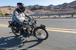 Richard Asprey of Texas riding his 1915 Norton as he leaves Lake Havasu City during the Motorcycle Cannonball Race of the Century. Stage-14 ride from Lake Havasu CIty, AZ to Palm Desert, CA. USA. Saturday September 24, 2016. Photography ©2016 Michael Lichter.