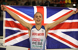 Great Britain's Jamie Webb celebrates winning silver at the Men's 800m final during day three of the European Indoor Athletics Championships at the Emirates Arena, Glasgow.