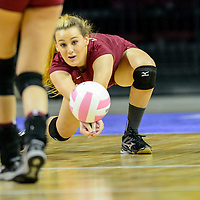 111414  Adron Gardner/Independent<br /> <br /> Ramah Mustang Fate Clawson dives for a Melrose Buffaloes spike during the New Mexico state volleyball finals at the Santa Ana Star Center in Rio Rancho Friday.