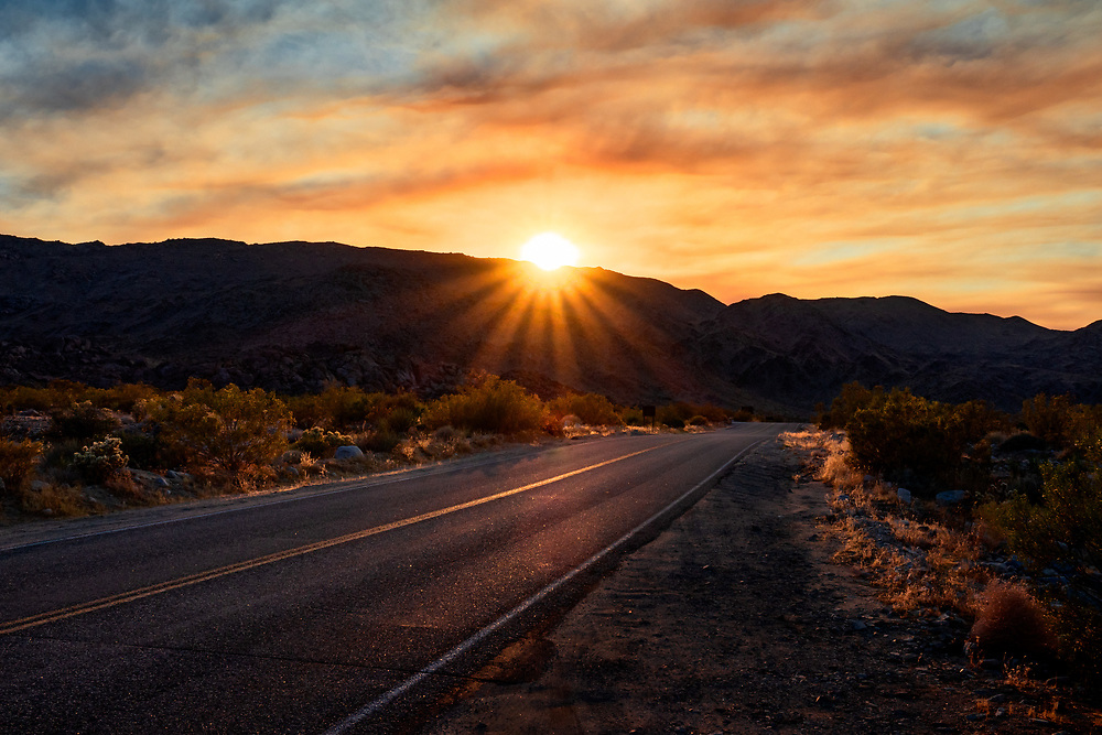 Road Sunset Landscape at Joshua Tree National Park. ©justinalexanderbartels.com