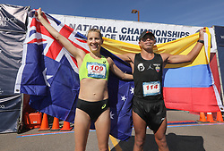 January 26, 2019 - Oceanside, California, United States - January 26, 2019, Santee, California_USA_2019 USATF 50km Race Walk Championships_| International winners Claire Tallent, of Australia, and David Velasquez, of Ecuador, hold their country's flags after winning their races. |_Photo Credit: Photo by Charlie Neuman (Credit Image: © Charlie Neuman/ZUMA Wire)