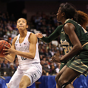 Saniya Chong, UConn, in action during the UConn Huskies Vs USF Bulls Basketball Final game at the American Athletic Conference Women's College Basketball Championships 2015 at Mohegan Sun Arena, Uncasville, Connecticut, USA. 9th March 2015. Photo Tim Clayton