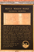 Historic Beale Wagon Road interpretive plaque, Route 66, Seligman, Arizona USA