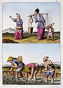 Paddy field - planting rice (bottom): Men are wearing hats of rice straw and one has rice-straw fan tucked in his belt.   Woman itinerant trader (top) with child with windmill toy. China. Aquatint, published Rome c1830.