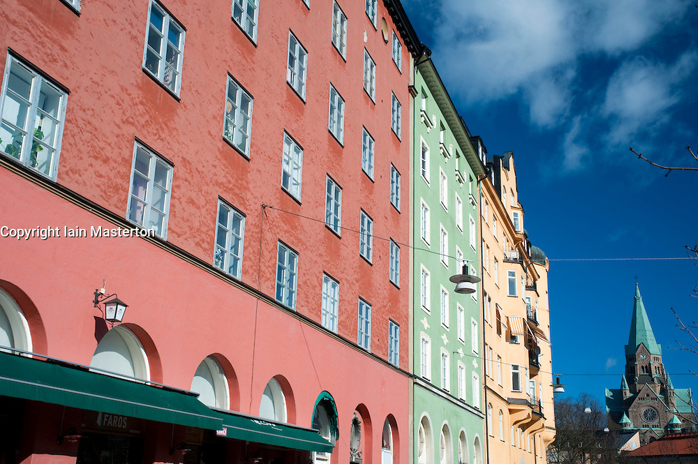 Colourful facades of apartment buildings in Sodermalm district of Stockholm Sweden 2009