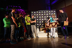 Maja Vidmar first Slovenian who won overall world championship in climbing  and her fellow climbers from team Slovenia during her retirement, Sport hall Poden, Skofja Loka, Slovenija, on April 3, 2016 in Skofja Loka, Slovenia. Photo by Grega Valancic / Sportida