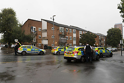 © Licensed to London News Pictures. 23/09/2018. London, UK.  Police at the scene at Vallentin Road in Walthamstow, E17 where police were called to a shooting shortly after 11pm last night. The victim, a 19-year-old man, was driven by friends to a north-east London hospital, where he was pronounced dead at 11:38pm. A murder investigation has been launched by police.  Photo credit: Vickie Flores/LNP