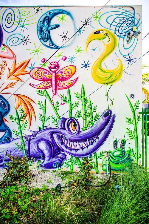 Section of a mural by pop artist Kenny Scharf in the Wynwood Garden during Miami Art Week 2014