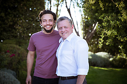 File photo dated August 2016 shown Jordan's King Abdullah II posing with his eldest son Crown Prince Hussein Bin Abdullah (son of King Abdullah II and Queen Rania). Crown Prince Hussein just graduated from Royal Military Academy Sandhurst (RMAS), known as Sandhurst, on August 11, 2017, in Camberley, south west of London, United Kingdom. Photo by Balkis Press/ABACAPRESS.COM