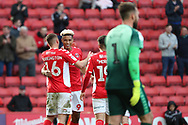 Charlton Athletic attacker Lyle Taylor (9) celebrating after scoring goal to make it 2-0 during the EFL Sky Bet League 1 match between Charlton Athletic and Rochdale at The Valley, London, England on 4 May 2019.
