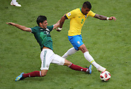 Paulinho of Brazil and Carlos Vela of Mexico during the 2018 FIFA World Cup Russia, round of 16 football match between Brazil and Mexico on July 2, 2018 at Samara Arena in Samara, Russia - Photo Tarso Sarraf / FramePhoto / ProSportsImages / DPPI