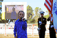 """Logan Thorstenson, known as the """"Boy Soprano,"""" sings the national anthem on Friday night at the 102nd California Rodeo Salinas, which opened July 19 for a four-day run."""