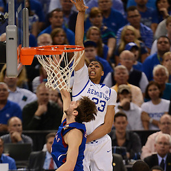 Apr 2, 2012; New Orleans, LA, USA; Kentucky Wildcats forward Anthony Davis (23) shoots over Kansas Jayhawks center Jeff Withey (5) during the second half in the finals of the 2012 NCAA men's basketball Final Four at the Mercedes-Benz Superdome. Mandatory Credit: Derick E. Hingle-US PRESSWIRE