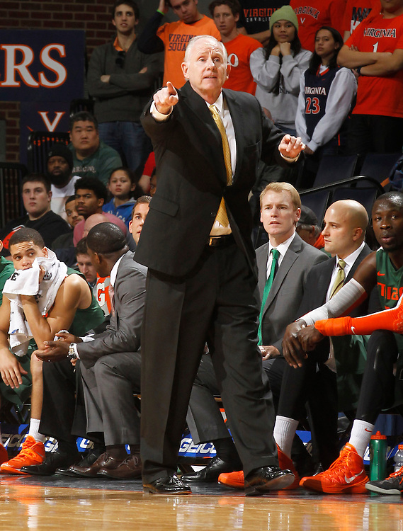 Miami head coach Jim Larrañaga during an NCAA basketball game Saturday Feb, 24, 2014 in Charlottesville, VA. Virginia defeated Miami 65-40.