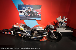 Vance and Hines Harley-Davidson V-Rod, which was raced from 2005-2008 and was the first pro-stock racer to get under a 7-second elapsed time, on display in Drag Racing: America's Fast Time - exhibition at the Harley-Davidson Museum during the Milwaukee Rally. Milwaukee, WI, USA. Saturday, September 3, 2016. Photography ©2016 Michael Lichter.