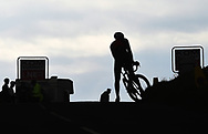 A rider takes a break at the top of Baggaby Hill during Stage 1 of the Tour de Yorkshire from Doncaster to Selby, Doncaster, United Kingdom on 2 May 2019.