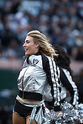 Oakland Raiderettes perform during a time out during a NFL game against the Carolina Panthers at Oakland Coliseum in Oakland, Calif., on November 27, 2016. (Stan Olszewski/Special to S.F. Examiner)
