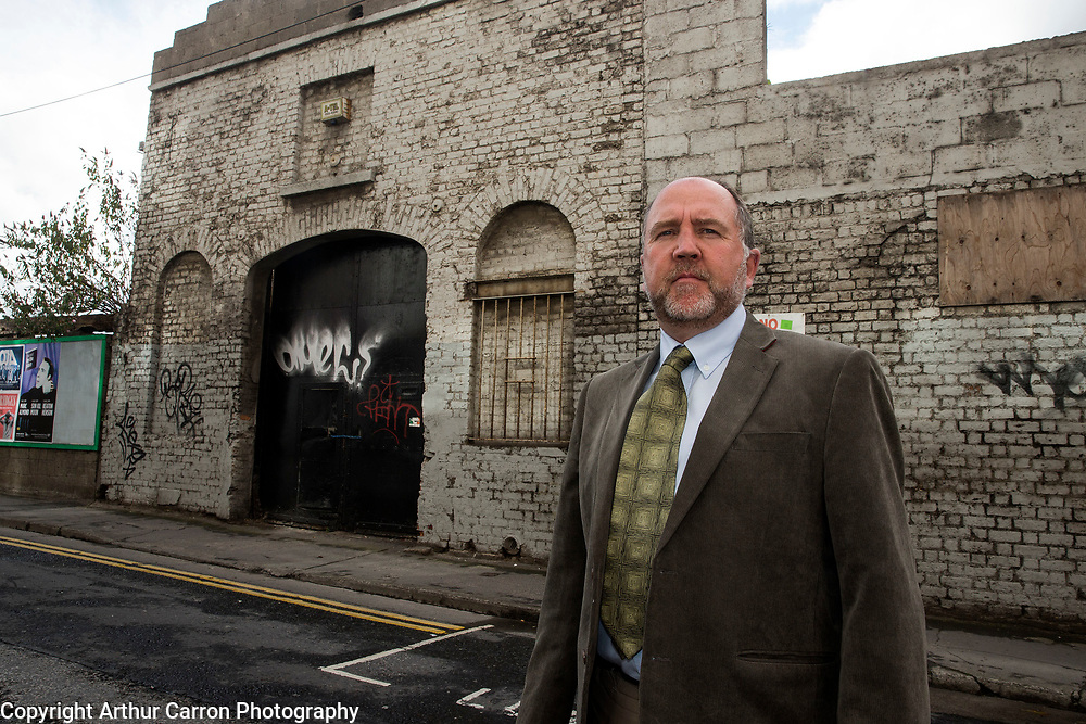 5/8/15 Michael McCabe at his premises on Bridgefoot Street in Dublin, which is over the planned route for the Luas underground. Picture:Arthur Carron