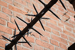 Spikes to prevent people climbing up on building,