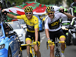 July 29, 2018 - France - Team Sky riders GERAINT THOMAS, left, wearing the yellow jersey of overall leader, with fellow Brit LUKE ROWE during the last stage of the 105th edition of the Tour de France cycling race, 116km from Houilles to Paris, France. (Credit Image: © Panoramic via ZUMA Press)