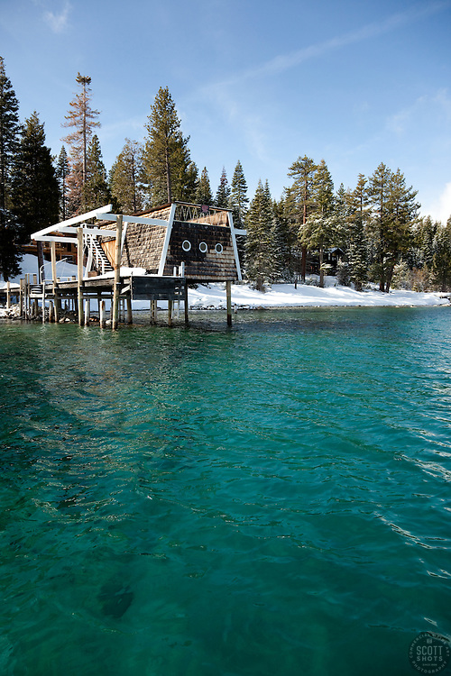 """""""Boat Dock on Lake Tahoe 2""""- This old boat dock was photographed on the west shore of Lake Tahoe, CA."""