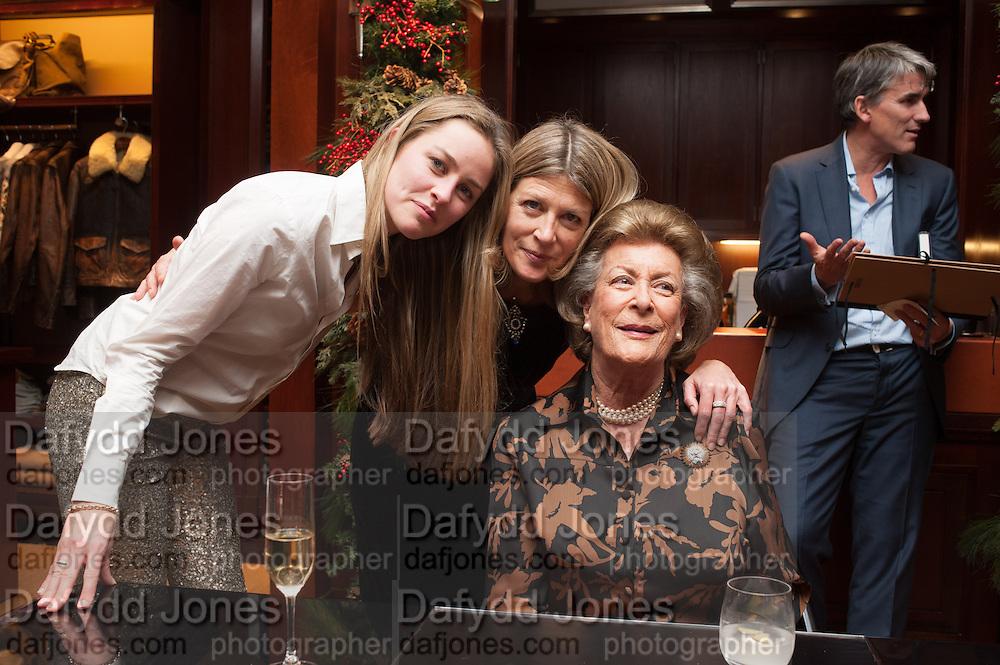 MADDISON MAY BRUDENELL;; EDWINA HICKS;  LADY PAMELA HICKS, , Book launch for ' Daughter of Empire - Life as a Mountbatten' by Lady Pamela Hicks. Ralph Lauren, 1 New Bond St. London. 12 November 2012.