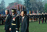 Washington, DC 1999/04/08 President Bill Clinton and Chinese Premier Zhu Rongji at a State Arrival ceremony at the White House.<br />Photo by Dennis Brack