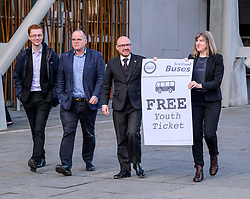 Scottish Greens, Free Bus Travel, 27 February <br /> <br /> Ahead of the budget debate this afternoon, Scottish Greens Parliamentary Co-Leaders Alison Johnstone MSP and Patrick Harvie MSP along with the Green MSP group staged a photocall outside the Scottish Parliament to celebrate their free bus travel for under 19s budget win. <br /> <br /> The Scottish Greens yesterday announced that a deal had been struck on free bus travel, more money for councils, extra resource for community safety and an additional £45 million package to tackle fuel poverty and the climate emergency.<br /> <br /> Pictured:  (left to right) Ross Greer MSP, Andy Wightman MSP, Patrick Harvie MSP and Alison Johnstone MSP<br /> <br /> Alex Todd   Edinburgh Elite media