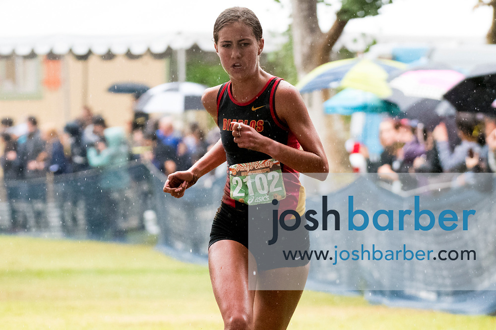 Mission Viejo's Kelli Hines during the Girls Varsity Sweepstakes race at the Orange County Cross Country Championships  at Oak Canyon Park on Saturday, October 13, 2018 in the unincorporated community of Silverado, Calif. (Photo by Josh Barber, Contributing Photographer)