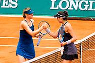 Maria Sharapova (rus) and Garbine Muguruza (esp) during the Roland Garros French Tennis Open 2018, day 11, on June 6, 2018, at the Roland Garros Stadium in Paris, France - Photo Pierre Charlier / ProSportsImages / DPPI
