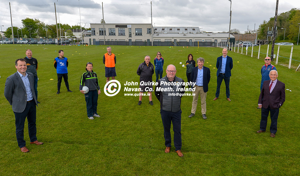 Back From left: Fergus McNulty, Chairman, Development Committee; Niall Clancy, Coach, (Blue Bib); Brian Quirke, Coach, (Orange Bib); Sarah-Jane Belton; Gillian Reilly, Vice Chairperson/Juvinile Chairperson and Stephan Keating, Kepak Group.  <br /> <br /> Middle: Teresa Molohan, Games Promotion Officer; Sean Murphy, Academy Director; Simon Walker, CEO Kepak and Garbhán Blake, Ladies Chairperson.<br /> <br /> Front from left:  Mick O'Dowd, Agri Business Development Manager, Kepak; Ronan O Doherty, chairperson, St. Peters, Dunboyne and Sean Boylan, St. Peters, Dunboyne Ambassedor,<br /> <br /> at the Dunboyne GFC new developement launch.<br /> <br /> Photo: GERRY SHANAHAN-WWW.QUIRKE.IE<br /> <br /> 09-05-2021