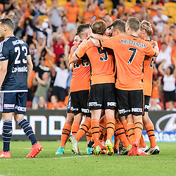 BRISBANE, AUSTRALIA - OCTOBER 7: Brisbane Roar players celebrate a goal during the round 1 Hyundai A-League match between the Brisbane Roar and Melbourne Victory at Suncorp Stadium on October 7, 2016 in Brisbane, Australia. (Photo by Patrick Kearney/Brisbane Roar)