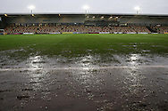 general view of the pitch at Rodney Parade before k/o as the match is called off due to a waterlogged pitch. The Emirates FA cup, 3rd round match, Newport county v Blackburn Rovers at Rodney Parade in Newport, South Wales on Saturday 9th Jan 2016.<br /> pic by Andrew Orchard, Andrew Orchard sports photography.