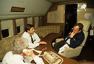 Craig Fuller talks to Vice  President Bush during the campaign in Florida in 1988 aboard Air Force Two.  Pete Teeley..Photograph by Dennis Brack bb24