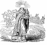 St Denis also Denys or Dionysius, Patron Saint of France (dc150).  First bishop of Paris. Under Valerian, beheaded at Montmartre and was said to carry his head to his burial on site at Saint-Denis. Woodcut 1826.