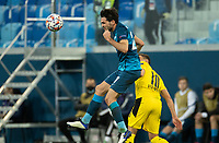 SAINT PETERSBURG, RUSSIA - DECEMBER 08: Magomed Ozdoev of Zenit St. Petersburg beats Thorgan Hard of Borussia Dortmund to the header during the UEFA Champions League Group F stage match between Zenit St. Petersburg and Borussia Dortmund at Gazprom Arena on December 8, 2020 in Saint Petersburg, Russia. (Photo by MB Media)