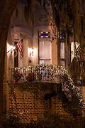 Christmas decorations on a historic home Savannah, GA.